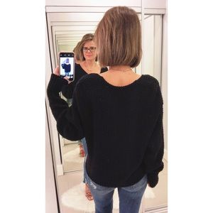 Free People Sweaters - Free People Coco V-Neck Knit Sweater in Black